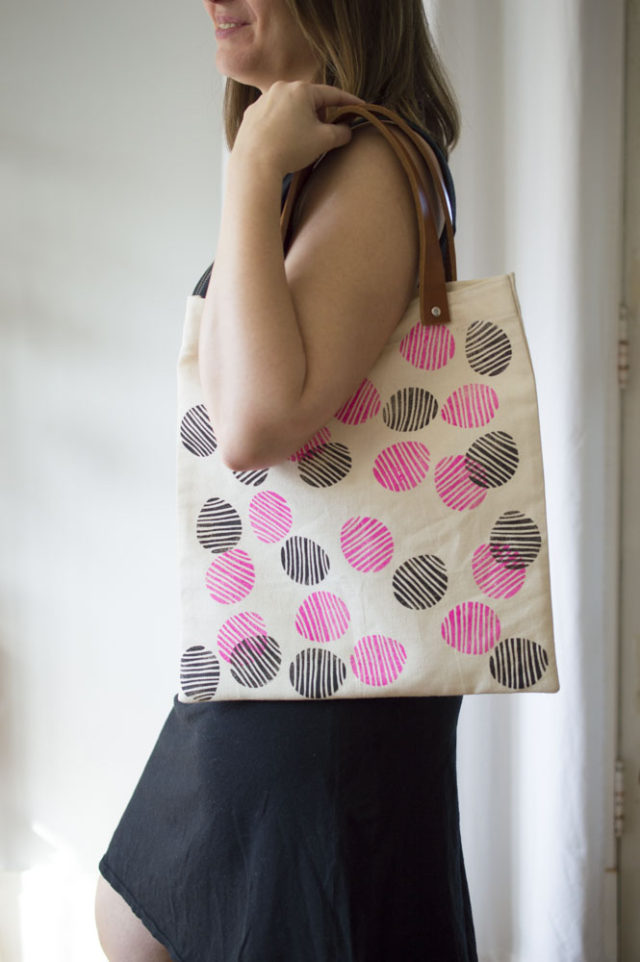 Hand-Stamped Tote with Leather Handles! Designed and made by *a happy stitch*