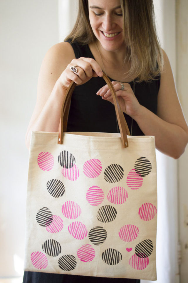 Hand-Stamped Tote with Leather Handles designed and made by *a happy stitch*
