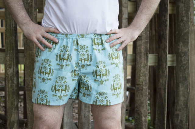Men's Boxer Shorts [Free Pattern for Juxtaposey Fabric tour] || a happy stitch