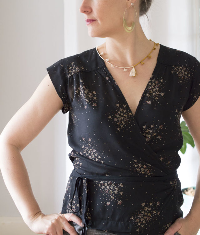 wrap top VONDEL - pattern by Halfmoon Atelier - sewn by A HAPPY STITCH- Melissa Quaal