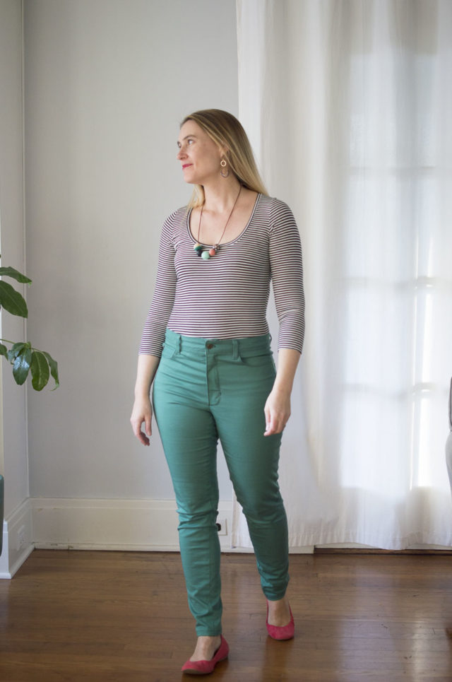 Ginger Jeans and Nettie Bodysuit :: A HAPPY STITCH for IndieSew