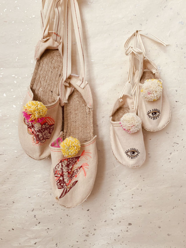 Celestial Embroidered Espadrilles from Emma Mierop of Skippy Cotton - A HAPPY STITCH _ The Espadrilles Kit