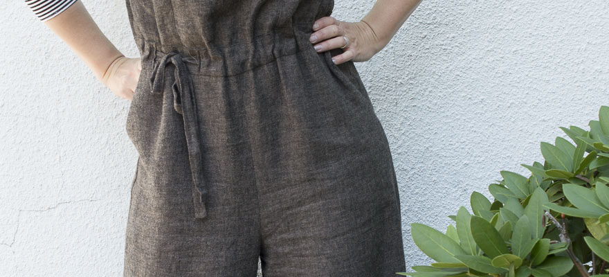 Frisco Jumpsuit in Chocolate Linen for IndieSew
