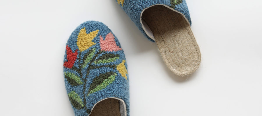 Artist Series : Punch Needle Slippers Kit by Arounna of Bookhou