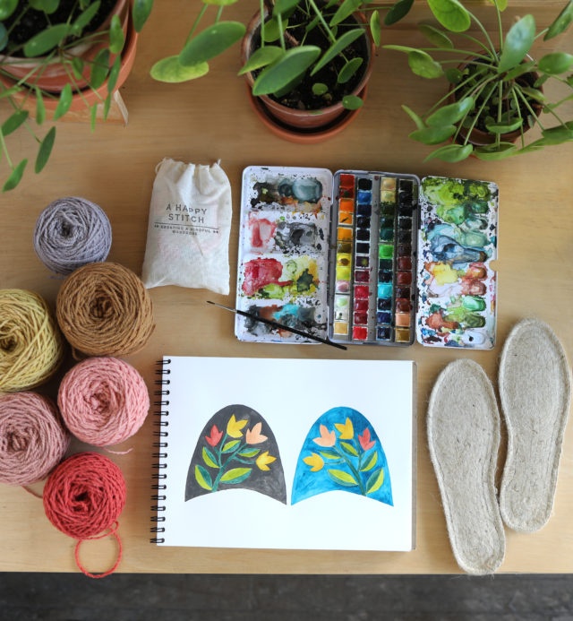 Punch Needle Slippers Kit by Arounna Khounnoraj of BOOKHOU - The Espadrilles Kit from A HAPPY STITCH