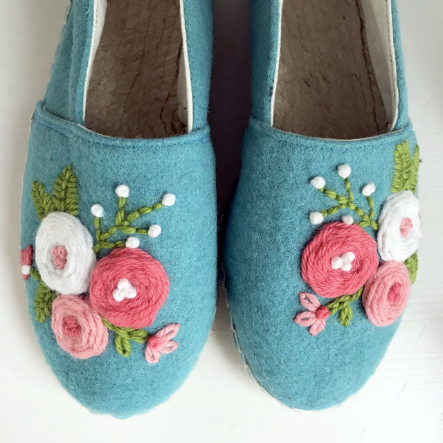 Cozy Rosette Espadrilles from Betz White Designs for A HAPPY STITCH