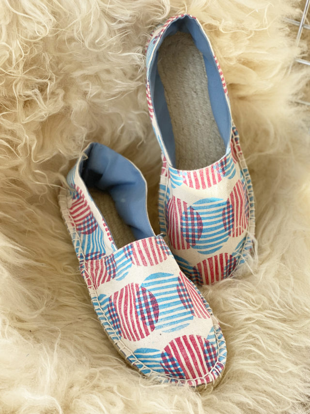 Block Printed Espadrilles from Jen Hewett _ The Espadrilles Kit_ A HAPPY STITCH
