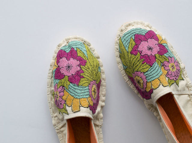 Blooming Espadrilles with Sulky and A HAPPY STITCH_embroidered espadrille DIY
