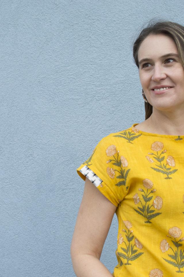 Print Mixed, Scrap Busting La Brea Top by Melissa Quaal of A HAPPY STITCH