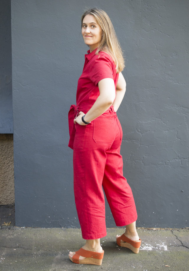 Fire Engine Red Blanca Flight Suit sewn by Melissa Quaal of A HAPPY STITCH